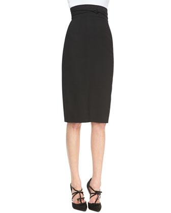 Wrapped-Waist Midi Skirt