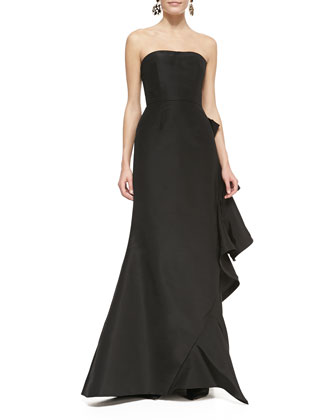 Strapless Bias-Ruffle Gown