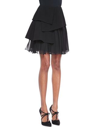 Pleated Chiffon Skirt, Black