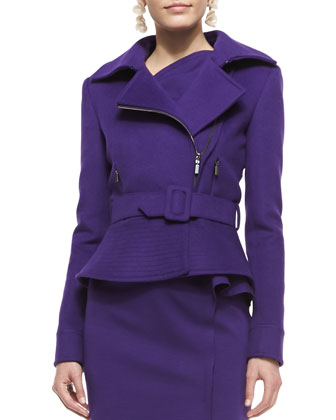 Belted Wool-Blend Peplum Moto Jacket, Violet
