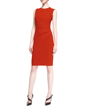 Sleeveless Side-Seam Sheath Dress, Red