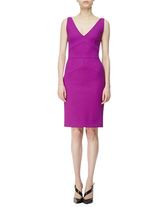 Seamed V-Neck Sheath Dress
