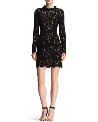 Velvet Lace Embellished-Neck Dress