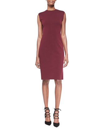 Compact Jersey Sheath Dress, Burgundy