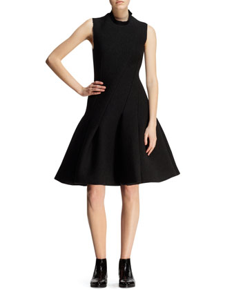 Bias-Seamed Flared Neoprene Dress
