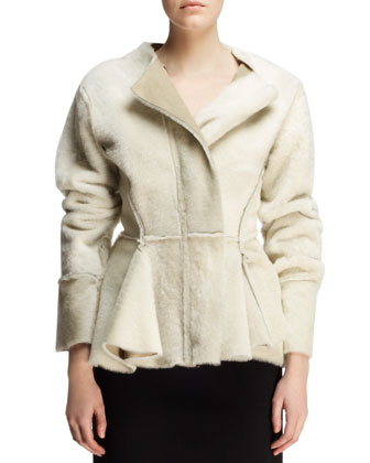 Seamed Shearling Peplum Jacket
