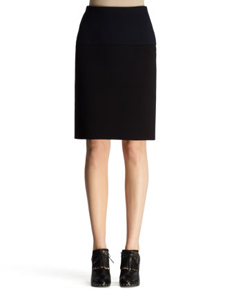 Bicolor Neoprene Pencil Skirt, Black/Navy
