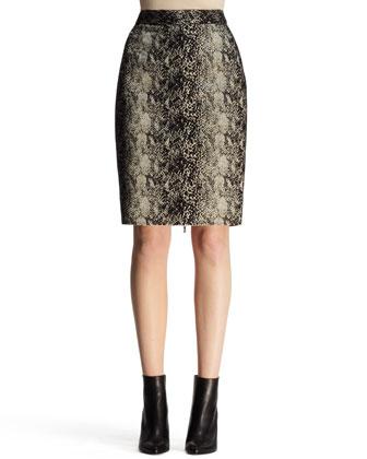 Python-Jacquard Pencil Skirt