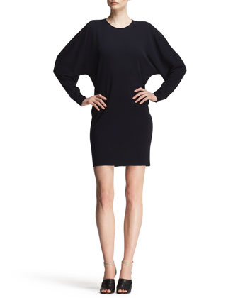 Blouson Jersey Seam-Back Shift Dress