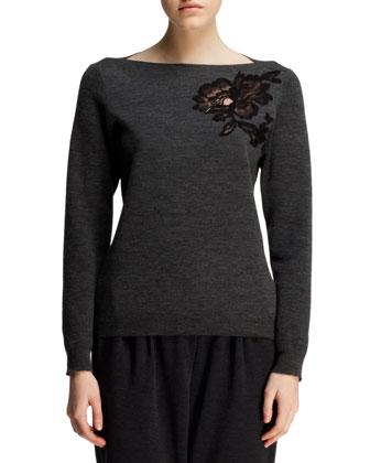Floral-Appliqu?? Bateau Sweater