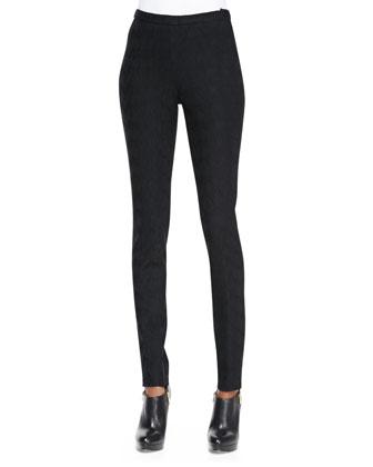 Skinny Jacquard Pants, Black