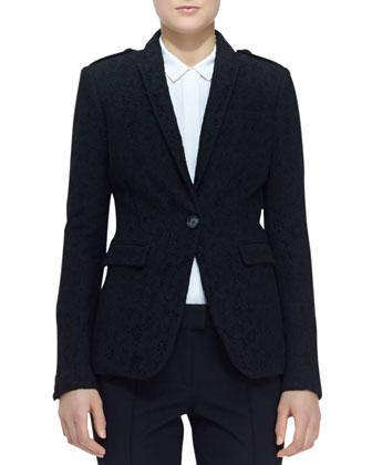 Single-Button Lace Blazer