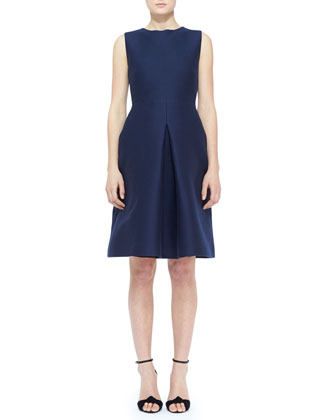 Sleeveless Cotton-Silk Front-Pleat Dress