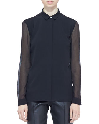 Sheer-Panel Buttoned Blouse, Black