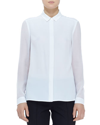 Sheer-Panel Buttoned Blouse, White