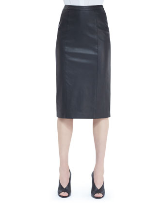 Seamed Leather Pencil Skirt