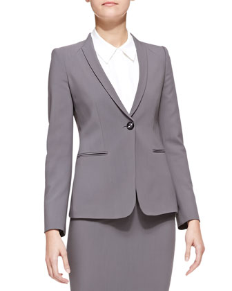 Featherweight-Wool One-Button Blazer