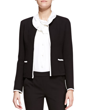Crepe Contrast-Trim Collarless Jacket