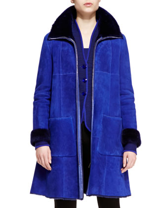 Shearling Long Zip-Front Trapeze Coat