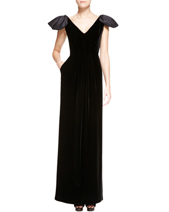 Satin-Poof Cap-Sleeve Velvet Gown