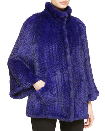 Knitted-Rabbit Fur Relaxed Jacket
