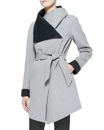 Contrast-Lined Oversize-Collared Coat
