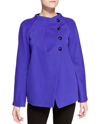 Wool Asymmetric Tulip-Sleeve Caban Coat