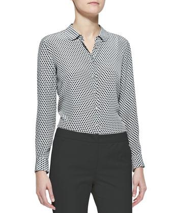 Long-Sleeve Button-Front Geometric Silk Blouse