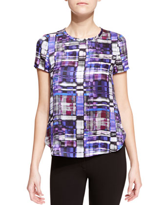 Kaleidoscope Silk-Print Short-Sleeve Tee