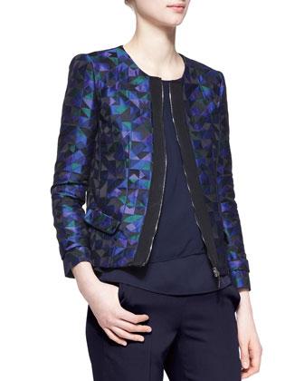 Harlequin Jacquard Zip-Front Jacket