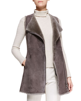 Zip-Front Shearling Long Vest