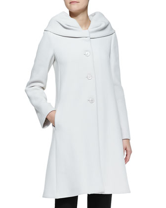 Exaggerated-Collar Crepe Coat
