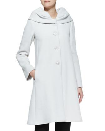 Exaggerated-Collar Crepe Coat