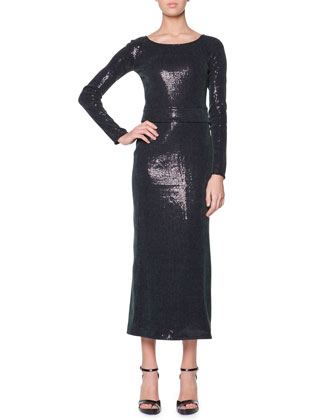 Long-Sleeve Sequined Midi Dress, Medium Green