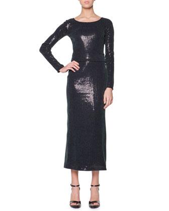 Long-Sleeve Sequined Midi Dress, Medium Green