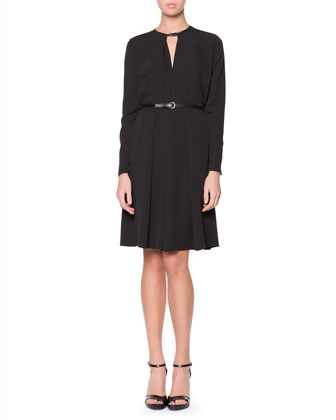 Leather-Neck Long-Sleeve Dress, Black