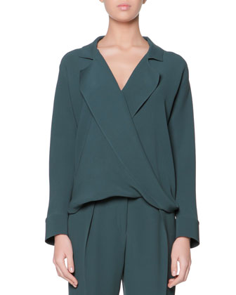 Long-Sleeve Silk Blouse, Verde