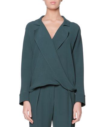 Long-Sleeve Silk Blouse, Verde