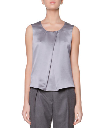 Scoop-Neck Silk Charmeuse Tank, Steel