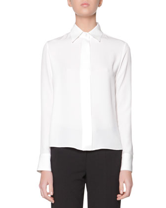Long-Sleeve Covered-Button Silk Satin Blouse, White