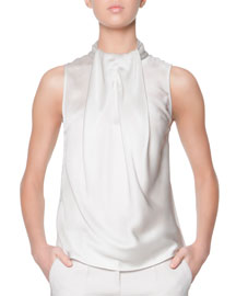 Sleeveless Drape-Ascot Silk Top, Putty
