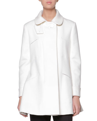 A-Line Coat with Leather-Covered Button, White