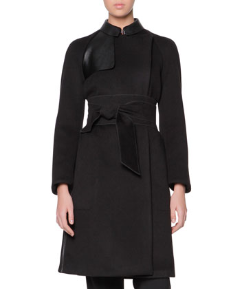 Obi-Belted Cashmere Coat with Leather Panels