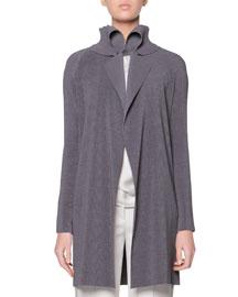 Plisse Exaggerated Lapel Jacket, Gray