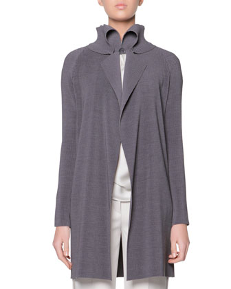 Plisse Exaggerated Lapel Jacket, Gray
