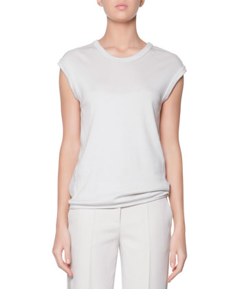 Cashmere Jersey Top, Almond