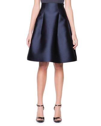 High-Waist Silk Gazar Full A-Line Skirt, Navy