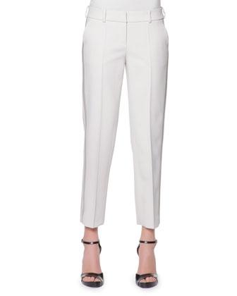 Satin Side-Striped Tailored Gabardine Pants, Cream