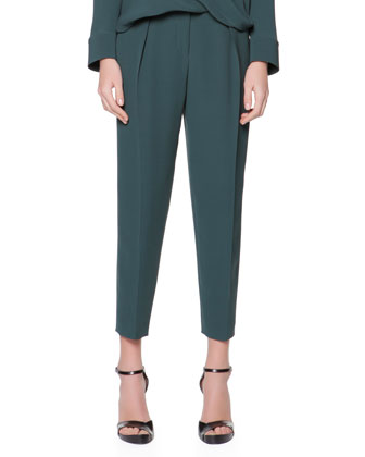 Micro Pleat Silk Cady Ankle Pants, Verde