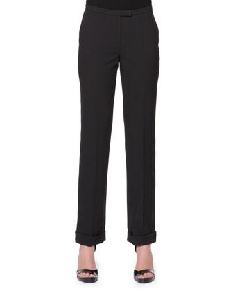 Stretch Wool Cuffed Straight-Leg Pants, Black